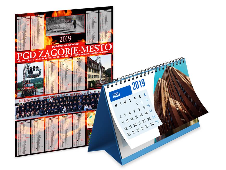 namizni in društveni koledarji za leto 2020